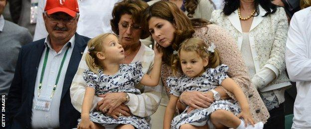 Roger Federer's wife, Mirka, with daughters Myla and Charlene