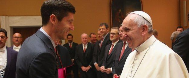 Bayern Munich players and staff met Pope Francis during a private audience on Wednesday