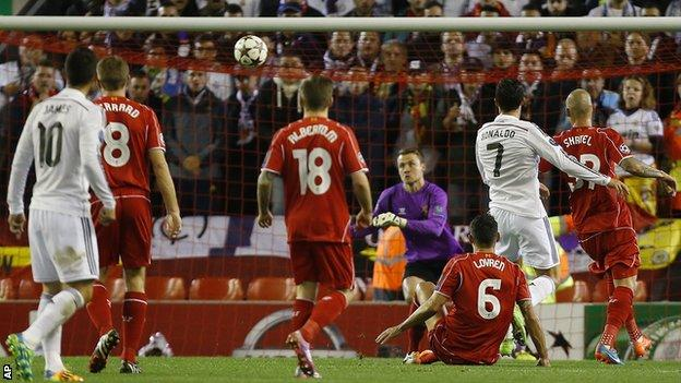 Cristiano Ronaldo scored the opener for Real Madrid at Liverpool
