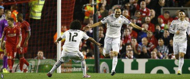 Karim Benzema scored twice in the first half for Real Madrid against Liverpool