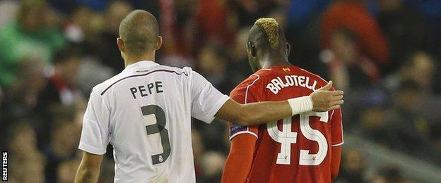 Mario Balotelli was taken off at half time for Liverpool against Real Madrid