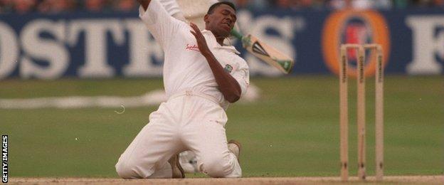 Ian Bishop celebrates for West Indies