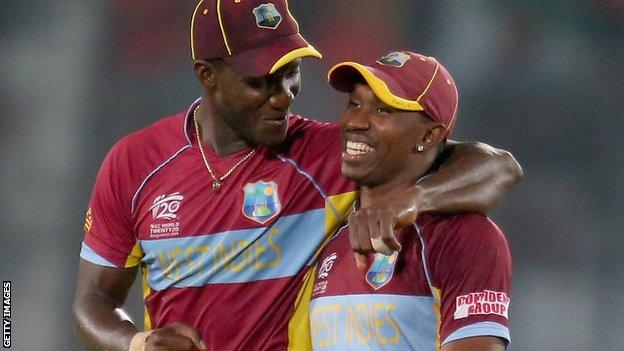 Dwayne Bravo (left) informed the West Indies Cricket Board that the players would end their tour