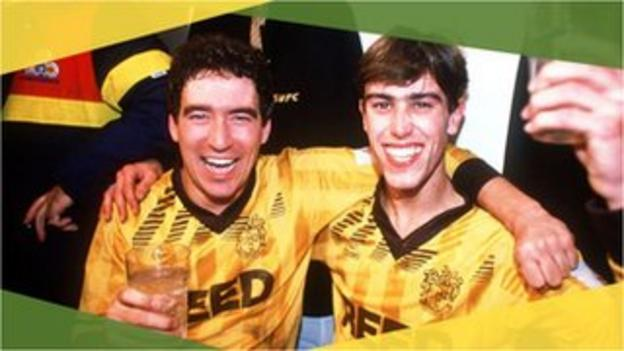 Sutton United's Tony Rains and Matthew Hanlan celebrate their 1989 FA Cup third round win against Coventry
