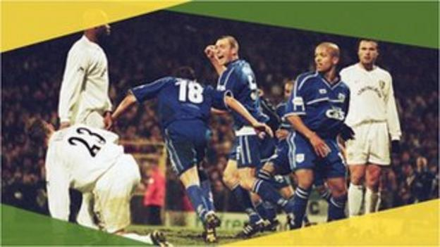 Cardiff's Scott Young turns to celebrate against Leeds in the 2002 FA Cup third round