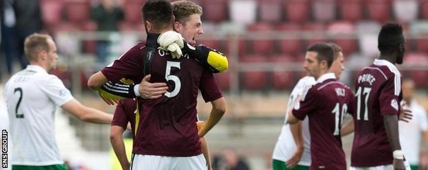 Hearts won the August derby 2-1 at Tynecastle