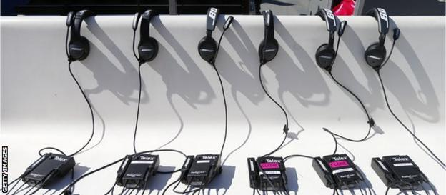 The headsets of the Philadelphia Eagles coaching staff prior to the game against the St Louis Rams