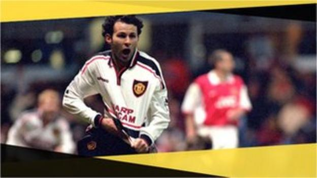 Manchester United's Ryan Giggs scores against Arsenal in a 1999 FA Cup semi-final