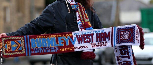 Burnely v West Ham commemorative scarves were sold outside Turf Moor