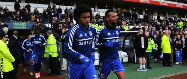 Ashley Cole and Willian both wearing gloves for Chelsea