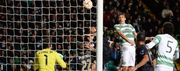 Stefan Scepovic rises to nod his first goal for Celtic and give his side a crucial lead against Astra Giurgiu