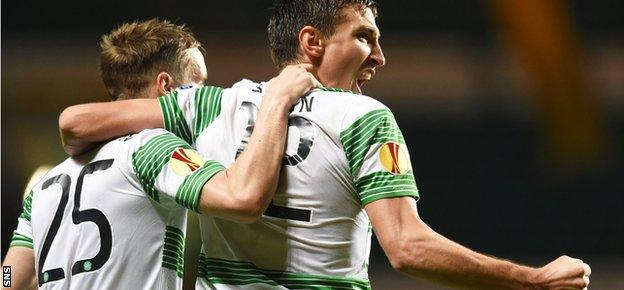 Stefan Johansen and Stefan Scepovic celebrate against Astra