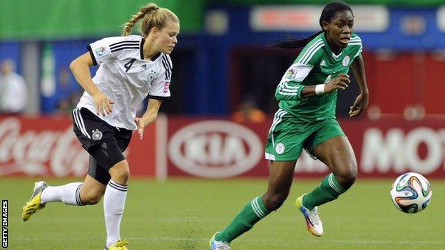 Nigeria's Asisat Oshoala (right) is one of the rising stars of African women's football