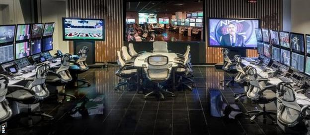 The Game Day Central room has 88 screens and 16 replay stations