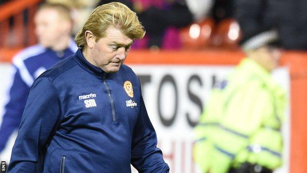 Motherwell manager Stuart McCall looks disappointed