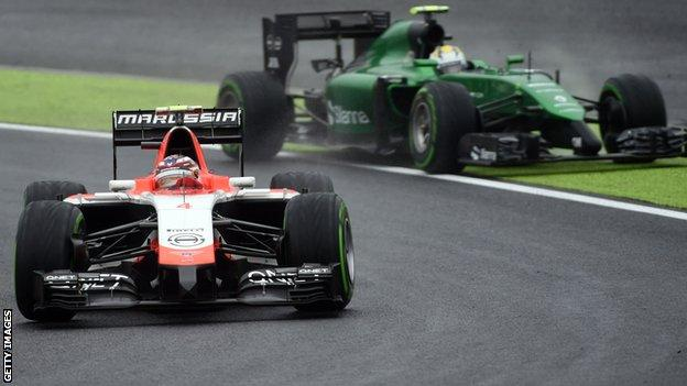 Marussia and Caterham cars