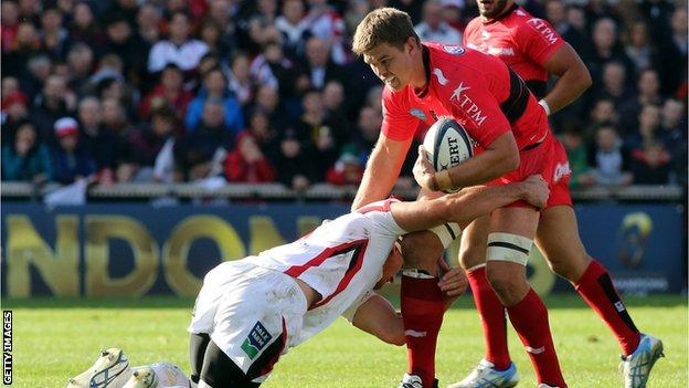 Ulster's Robbie Diack and Toulon's Juan Smith