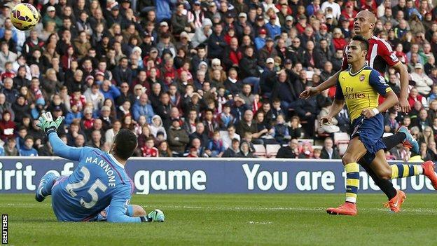 Alexis Sanchez gives Arsenal the lead