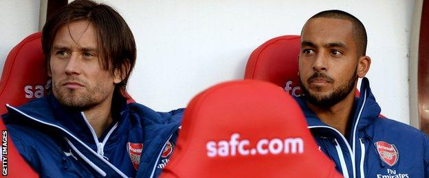 Theo Walcott was on the Arsenal bench
