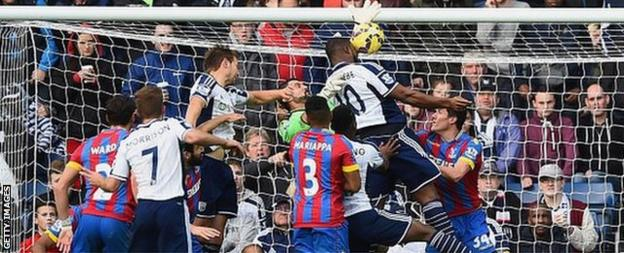 Victor Anichebe heads home from a corner for West Bromwich Albion