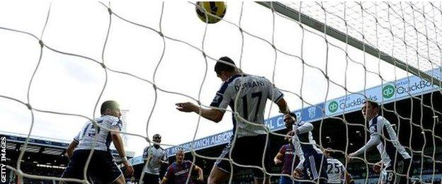 Brede Hangeland puts Crystal Palace 1-0 up at West Bromwich Albion