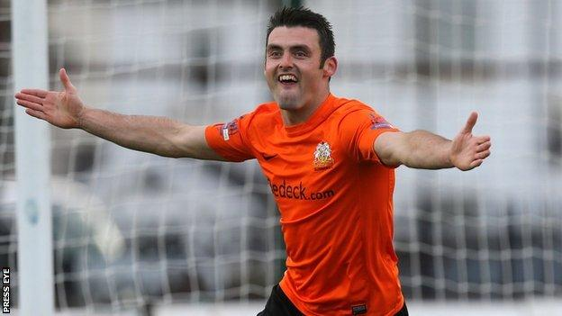 Eoin Bradley scored one goal and created another for Glenavon