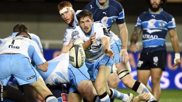 Glasgow Warriors scrum-half Henry Pyrgos offloads during the match against Montpellier