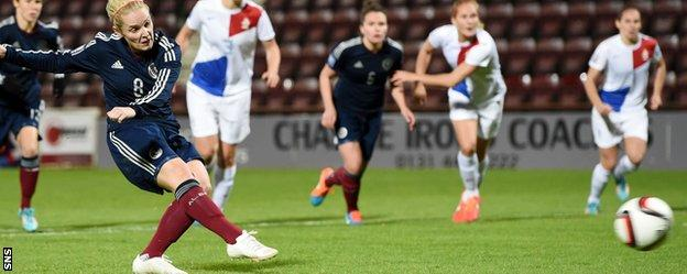 Kim Little scored from the spot to haul Scotland back into the play-off tie against the Netherlands