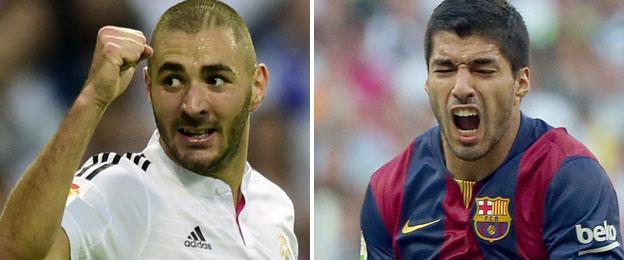 Real Madrid striker Karim Benzema (left) and Barcelona striker Luis Suarez