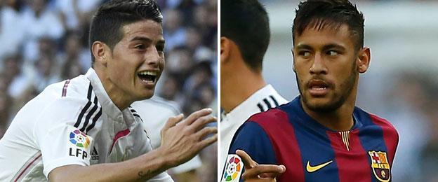 Real Madrid playmaker James Rodriguez (left) and Barcelona forward Neymar