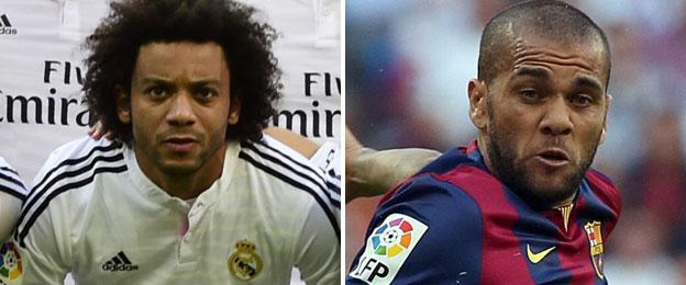 Real Madrid defender Marcelo (left) and Barcelona right-back Dani Alves