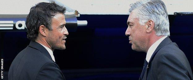 Barcelona coach Luis Enrique (left) and Real Madrid counterpart Carlo Ancelotti