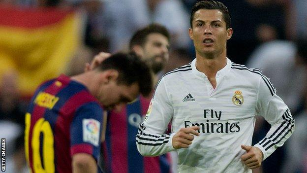Barcelona playmaker Lionel Messi (left) and Real Madrid forward Cristiano Ronaldo