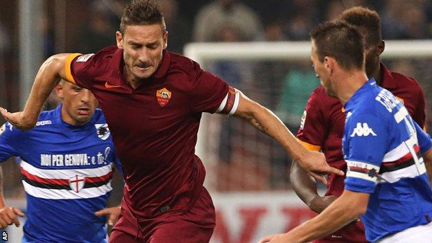 Roma playmaker Francesco Totti in action against Sampdoria