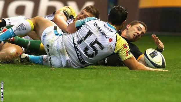 George North touches down for his fourth try against Ospreys
