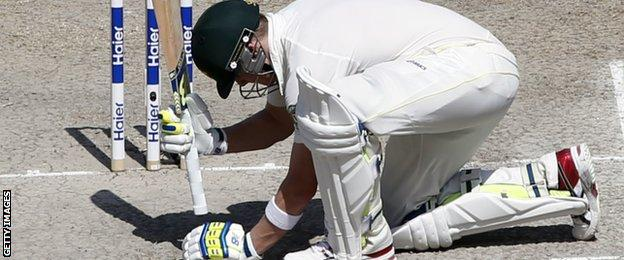 Mitchell Marsh reacts after being caught