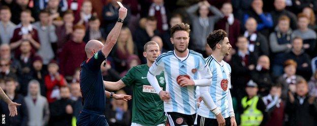 Hearts' Callum Paterson is sent off against Hibernian