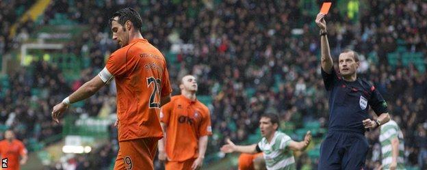 Kilmarnock captain Manuel Pascali is sent off against Celtic
