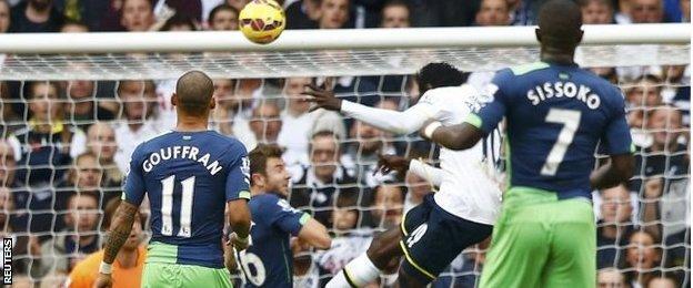 Emmanuel Adebayor scores for Tottenham