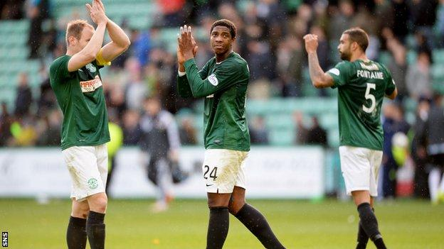 The Hibs players experienced a familiar feeling against Hearts