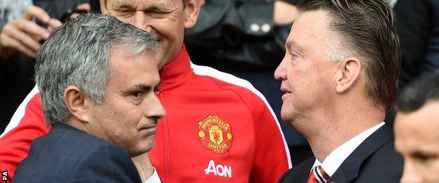 Chelsea's Jose Mourinho greets Manchester United's Louis van Gaal