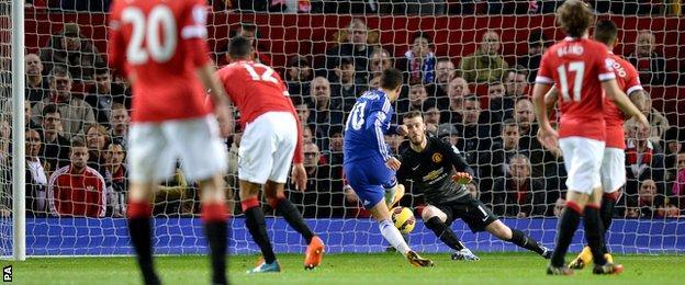 Manchester United's David De Gea denies Chelsea's Eden Hazard
