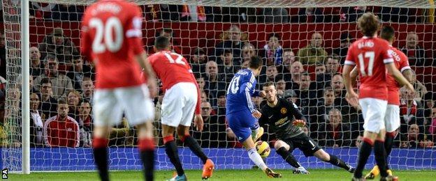 David de Gea saves from Eden Hazard