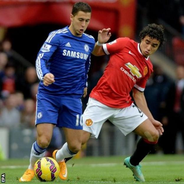 Chelsea forward Eden Hazard and Manchester United defender Rafael