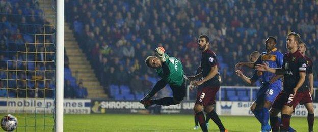 Norwich City keeper Declan Rudd fails to keep out Shrewsbury's League Cup third round matchwinner