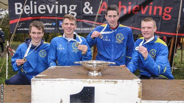 Central AC's Cameron Milne, Andrew Butchart, Alex Hendry and Scott McDonald
