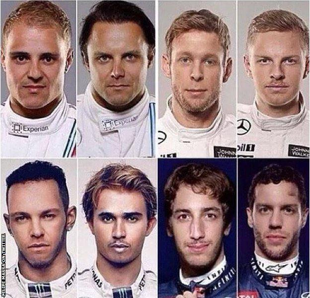 Felipe Massa tweeted this face exchange pictures of eight drivers, including Lewis Hamilton and Nico Rosberg
