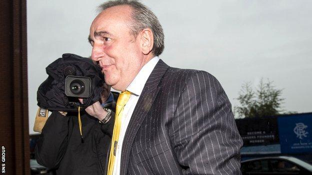 Derek Llambias arrives at Ibrox for talks