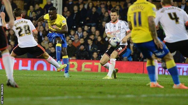 Simon Dawkins scores Derby's third goal