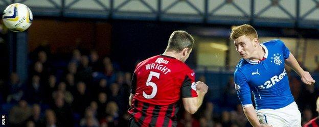 Lewis Macleod's heads home Rangers' winning goal